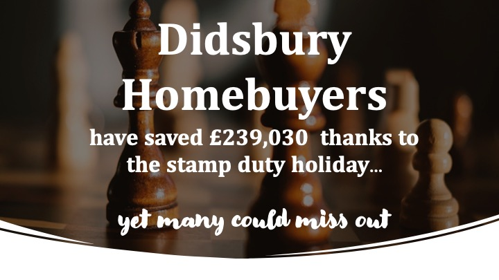 Slide4 - DIDSBURY HOMEBUYERS HAVE SAVED £239,030 THANKS TO THE STAMP DUTY HOLIDAY – YET MANY COULD MISS OUT